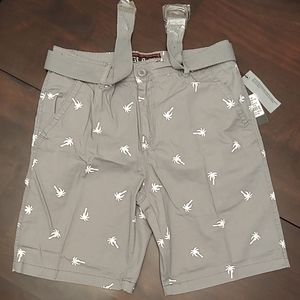 Men's Modern-Fit Printed Belted Cotton Shorts